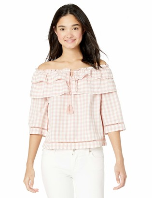 Jack by BB Dakota Women's go for Gingham Yarn Dyed Off-The-Shoulder Blouse