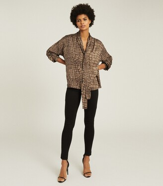Reiss Jessie - Croc Print Blouse in Brown
