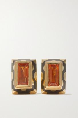 Alice Cicolini Memphis Dot 14-karat Gold, Enamel And Opal Earrings