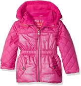 Pink Platinum Little Girls' Quilted Puffer Jacket Mixed with Spray Foil