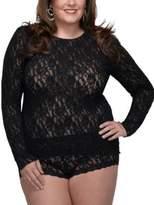 Hanky Panky Plus Size Signature Lace Long-Sleeve Top