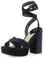 Ash Boom Crocodile-Embossed Velvet Ankle-Wrap Sandal, Midnight