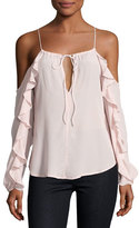 Karina Grimaldi Rosi Ruffle-Trim Cold-Shoulder Top, Pink