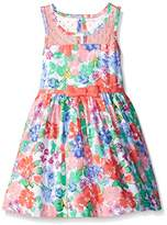 Nannette Girls' Floral Belted Dress With Illusion Neckline