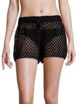 Milly Netting Gathered Shorts