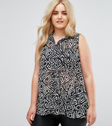 Koko Sleeveless Abstract Diamond Print Monochrome Shirt