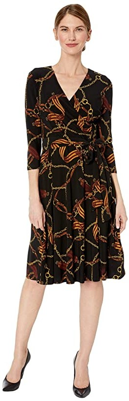 Lauren Ralph Lauren Petite Equestrian-Print Jersey Dress (Black/Gold/Multi) Women's Clothing