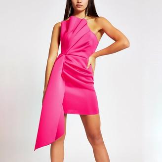 River Island Bright pink ruffle bandeau mini dress