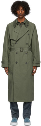 Kenzo Green Cotton Trench Coat