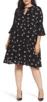 Glamorous Plus Size Women's Bell Sleeve Floral Shift Dress