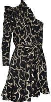 Isabel Marant Clary One-shoulder Metallic Devoré-chiffon Mini Dress - Black