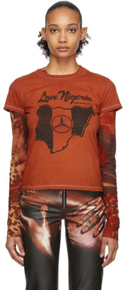 Mowalola SSENSE Exclusive Orange Love Nigeria Baby-Fit T-Shirt