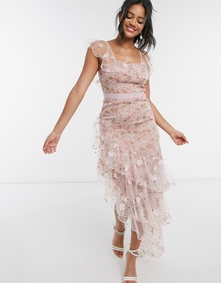 Forever U asymmetric dress with ruffle details in floral