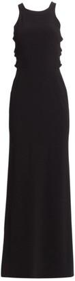 Halston Sleeveless High Neck Twist A-Line Gown