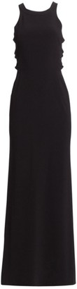 Halston Sleeveless High Neck Twist A-Line Gown