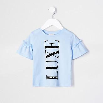 River Island Mini girls blue 'Luxe' print t-shirt