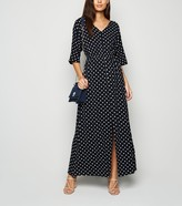 New Look Mela Spot V Neck Maxi Dress