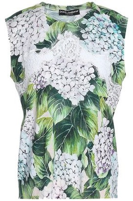 Dolce & Gabbana Lace-trimmed Floral-print Cashmere, Silk And Cotton-blend Top