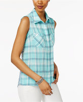 Style&Co. Style & Co Petite Printed-Back Plaid Shirt, Only at Macy's