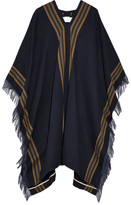 Chloé Fringed Wool, Linen And Cashmere-blend Twill Poncho - Navy