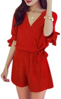 uxcell® Women Crossover V Neck Elastic Waist Self Tie Romper