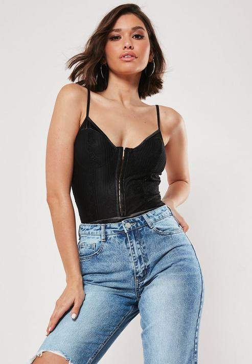 Missguided Tall Black Hook And Eye Strappy Lace Bodysuit