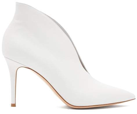 Gianvito Rossi Vania 85 Leather Ankle Boots - Womens - White