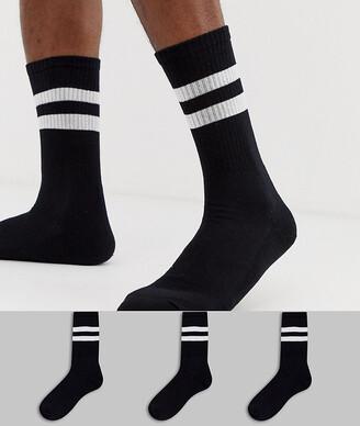 New Look sport socks in black 3 pack