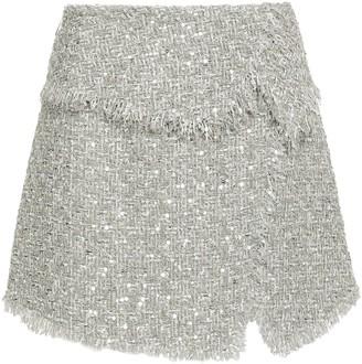 Balmain Sequin-embellished Boucle-tweed Mini Skirt