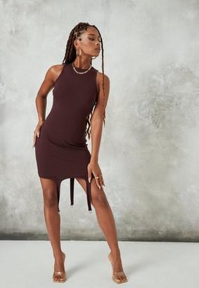 Missguided Plum Rib Suspender Detail Mini Dress