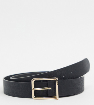 ASOS DESIGN Plus slim belt in black pebble faux leather with gold box buckle