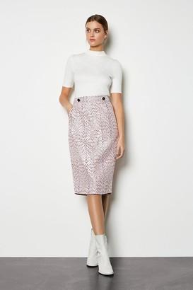 Pocket Detail Jacquard Skirt