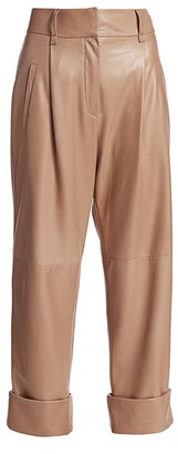 Brunello Cucinelli Cuffed Leather Trousers