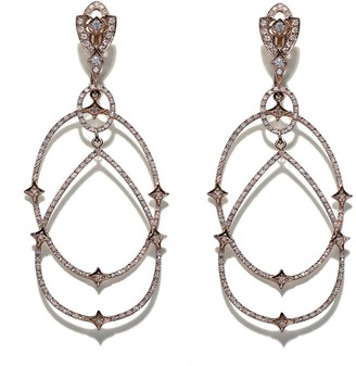 Loree Rodkin 18kt rose gold Michelle diamond pave earrings