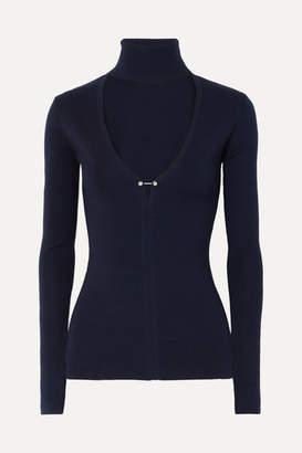 Dion Lee Embellished Cutout Merino Wool-blend Turtleneck Sweater - Navy