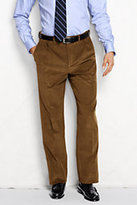 Lands' End Men's Pleat Front Comfort Waist 18-wale Corduroy Trousers-Umber
