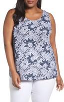 Foxcroft Plus Size Women's Floral Print Tank