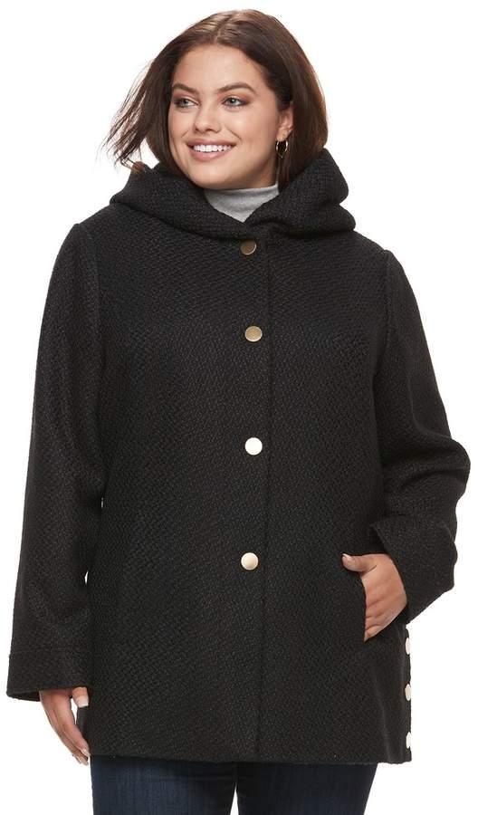 Apt. 9 Plus Size Faux-Wool Hooded Jacket