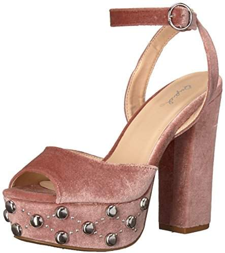 Qupid Women's Chunky Heeled with Studded Platform Sandal
