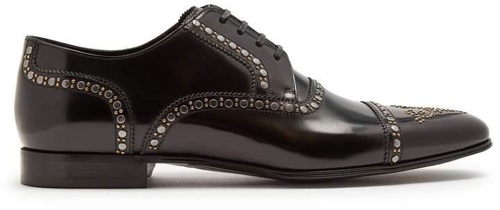 Dolce & Gabbana Stud-embellished leather derby shoes