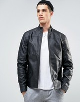 Solid Biker Jacket In Faux Leather