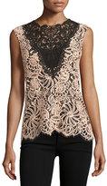 Nanette Lepore Sleeveless Colorblock Lace Top, Desert Rose
