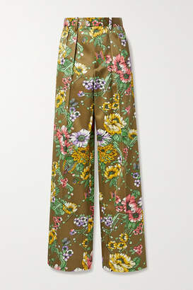 Marc Jacobs Floral-print Silk And Cotton-blend Satin Wide-leg Pants - Army green