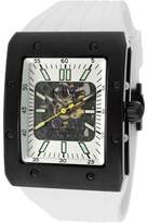 Rotary Men's Editions Automatic Partially See Thru Dial Black IP Case White Rubber