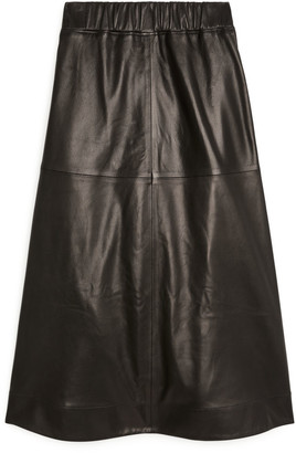 Arket A-Line Leather Skirt