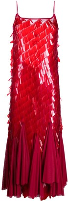 Atu Body Couture Sequin Flared Dress With Spaghetti Strap Detailing