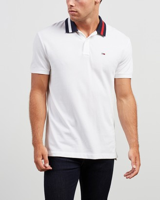 Tommy Jeans Men's White Polo Shirts - Flag Neck Polo - Size S at The Iconic