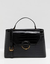 Asos Design DESIGN croc city bag with ring ball detail