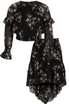 River Island Girls black floral frill top and skirt outfit