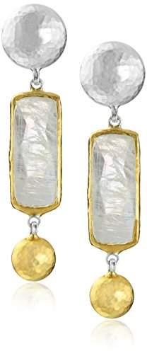 Gurhan Lentil Sterling Rainbow Moonstone Rectangular Drop Earrings
